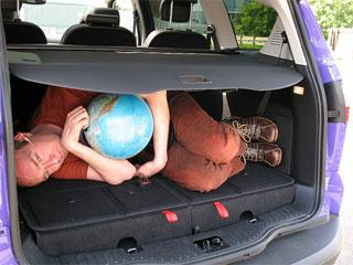 Ian Jones in the boot of the car